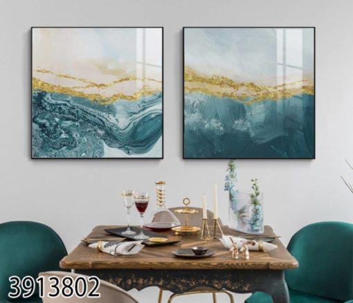 אבסטרקט ימי - סט תמונות על זכוכית לסלון או לפינת אוכל דגם 3913802