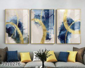 אבסטרקט מודרני - סט 3 תמונות לסלון או לפינת אוכל על זכוכית דגם 3910276