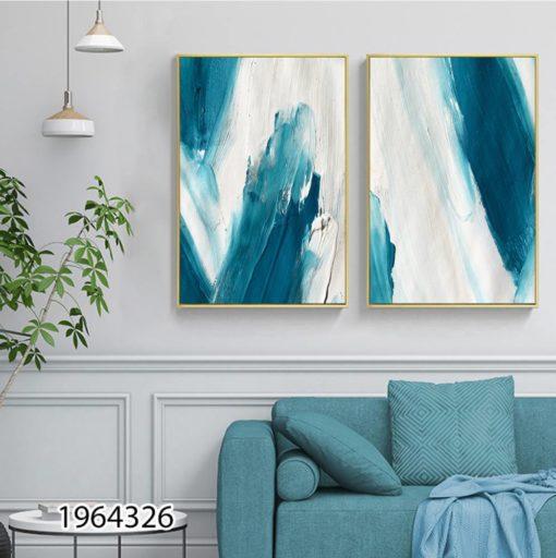 אבסטרקט מריחות כחול לבן זוג תמונות על זכוכית לסלון או לקליניקה דגם 1964326