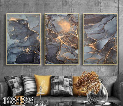אבסטרקט שחור זהב - סט תמונות זכוכית לסלון דגם 1884334