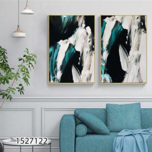 אומנות המריחות - סט 2 תמונות אבסטרקטיות על זכוכית לסלון או לכניסה לבית דגם 1527122