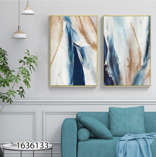 אומנות המריחות 2 - זוג תמונות זכוכית לסלון או לפינת אוכל דגם 1636133