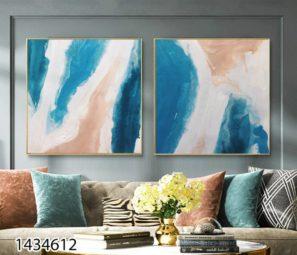 אומנות נורדית - סט תמונות אבסטרקטיות בסגנון ציור על זכוכית לסלון או לפינת אוכל דגם 1434612