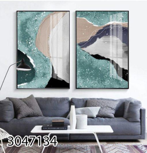 אמנות מופשטת מנצנצת - סט תמונות על זכוכית יוקרתית לסלון או לפינת אוכל דגם 3047134