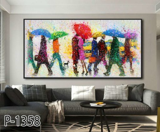ציור של אנשים במטריות - תמונה צבעונית על זכוכית לסלון או למשרד דגם P-1358