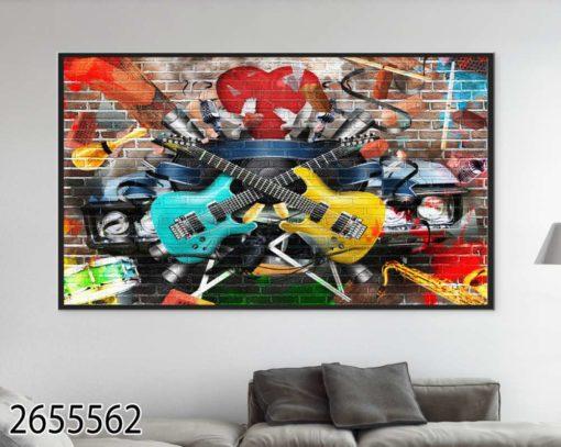 גיטרות צבעוניות - תמונה על זכוכית לסלון או לחדר שינה נוער דגם 2655562