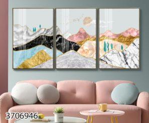 הרים נורדיים - סט 3 תמונות דקורטיביות לסלון או לפינת אוכל דגם 3706946