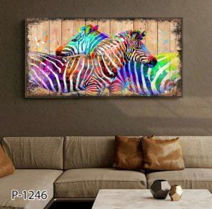 זברות צבעוניות - תמונה על זכוכית דמוי עץ לסלון דגם P-1246
