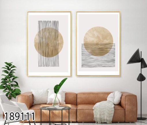זוג תמונות מעוצבות בסגנון מודרני לסלון או למשרד הדפסה על זכוכית דגם 189111