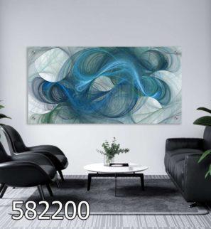 חוטי אבסטרקט בטורקיז - תמונה מזכוכית לסלון או למשרד דגם 582200