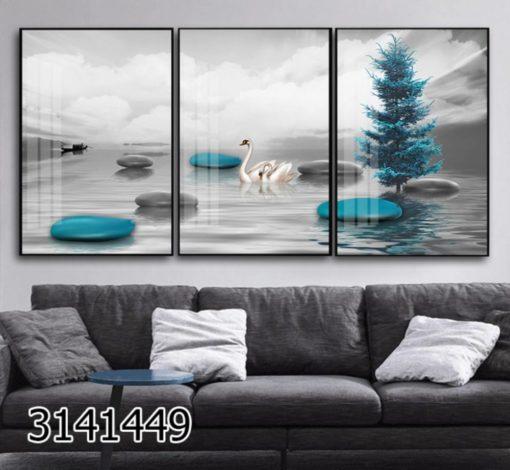 חלוקי נחל כסוף וטורקיז - סט 3 תמונות זכוכית פופולריות לסלון או לפינת אוכל דגם 3141449