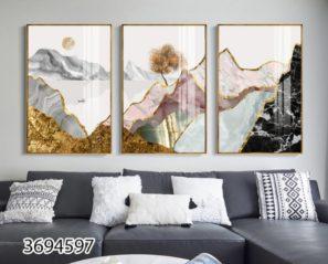 טבע נורדי - סט 3 תמונות יוקרתיות סוריאליסטיות של נוף הרים לסלון או לפינת אוכל דגם 3694597