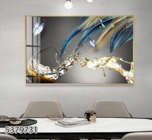 כוס יין עם נוצות ואפקט פרפר - תמונה דקורטיבית מזכוכית לפינת אוכל או למטבח דגם 5379731