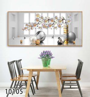 לבן - תמונה דקורטיבית על זכוכית לסלון או לפינת אוכל דגם 10105