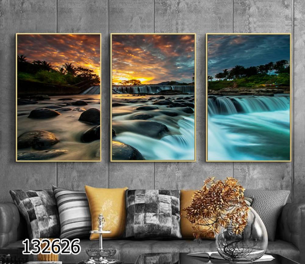 מים רבים - סט 3 תמונות נוף לסלון או למשרד הדפסה על זכוכית דגם 1326261