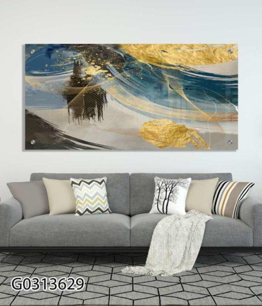 מריחות אבסטרקט - תמונה יוקרתית על זכוכית לסלון או למשרד דגם G0313629