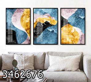נוף חלל - שלישיית תמונות זכוכית לסלון דגם 3462676
