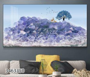 נוף מזכוכית - תמונה יוקרתית על זכוכית של נוף סוריאליסטי בתכלת לסלון או למשרד דגם 3463350