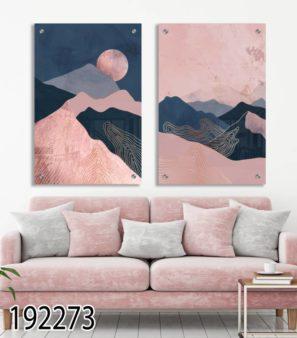 נופים נורדיים - סט 2 תמונות נורדיות לסלון או לחדר שינה דגם 192273
