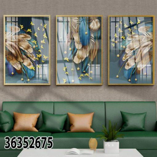 נוצות מודרניות - שלישיית תמונות מעוצבות לסלון דגם 36352675