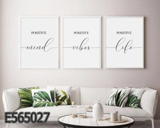 סט שלישיה של תמונות מינימליסטיות בלבן על זכוכית - תמונות השראה לסלון או למשרד דגם E565027