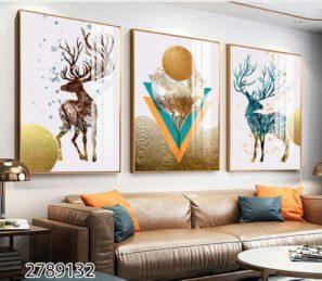 סט שלישית תמונות דקורטיביות מעוצבות מזכוכית לסלון או לפינת אוכל דגם 2789132