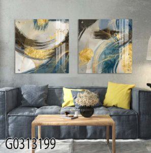 סט תמונות אבסטרקטיות מיוחדות מעוצבות על זכוכית לסלון או לפינת אוכל דגם G0313199