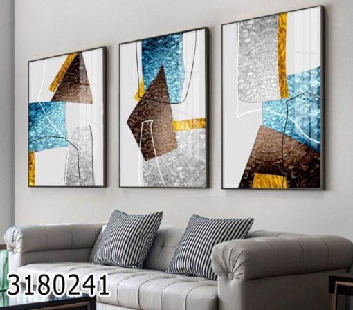 סט תמונות אבסטרקט לסלון בגווני טורקיז וזהב דגם 3180241