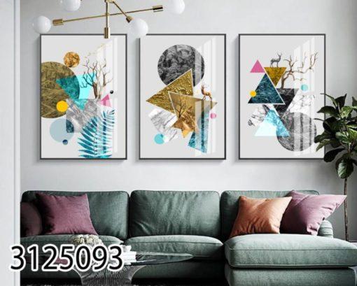 סט תמונות גיאומטריות לסלון על זכוכית דגם 3125093