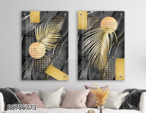 סט תמונות דקורטיביות בצבעים מודרניים לסלון או לפינת אוכל דגם P0756773