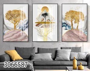 סט תמונות זכוכית לסלון - עצי החיים החדשים דגם 3066587