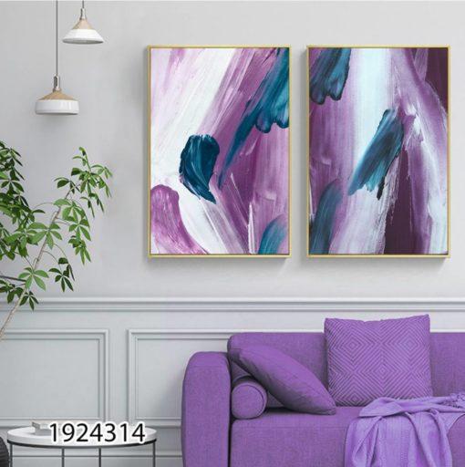 סט תמונות לסלון או לפינת אוכל מריחות צבע על זכוכית דגם 1924314