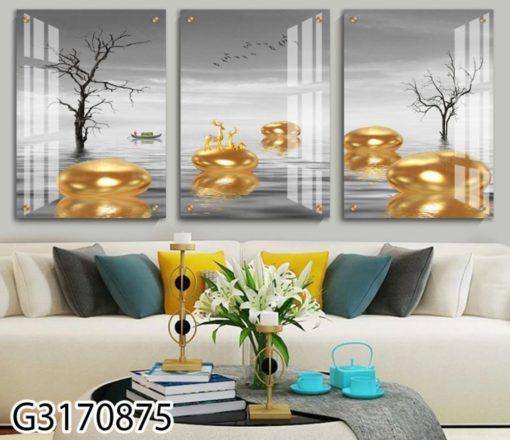 סט תמונות לסלון מודפסות על זכוכית דגם G3170875