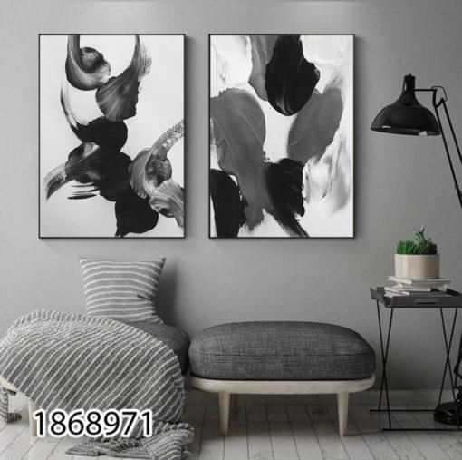 סט 2 תמונות אבסטרקט בגוונים מודרניים אפור שחור לבן לסלון או לפינת אוכל- הדפסה על זכוכית דגם 1868971