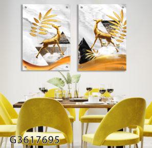 סט 2 תמונות זכוכית דקורטיביות - אילים בטבע לסלון או לפינת אוכל דגם G3617695