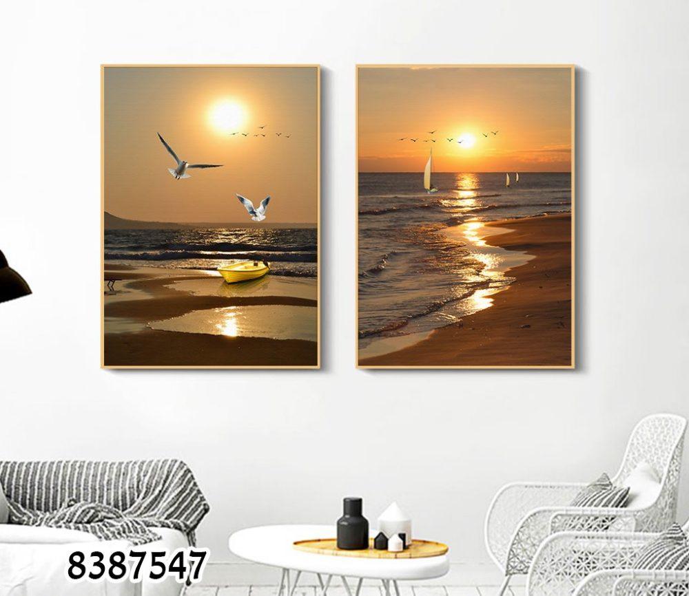סט 2 תמונות זכוכית של נוף חוף ים וציפורים לסלון או לפינת אוכל דגם 8387547