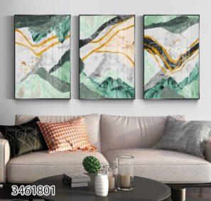 סט 3 תמונות אבסטרקט הרים יוקתיות על זכוכית לסלון או לפינת אוכל דגם 3461801