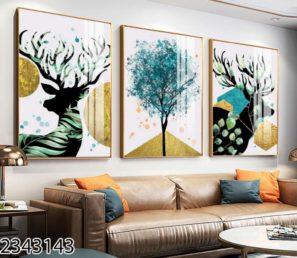 סט 3 תמונות דקורטיביות יוקרתיות לסלון או לפינת אוכל הדפסה על זכוכית דגם 2343143