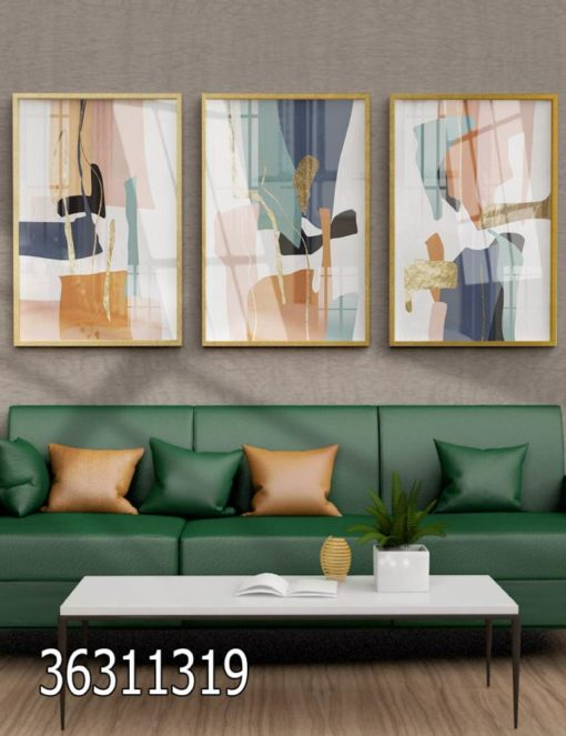 סט 3 תמונות זכוכית נורדיות יפות לסלון דגם 36311319