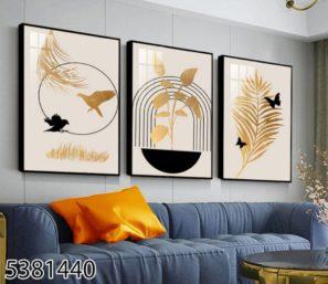 סט 3 תמונות מודרניות מזכוכית לסלון חדשני או לפינת אוכל דגם 5381440