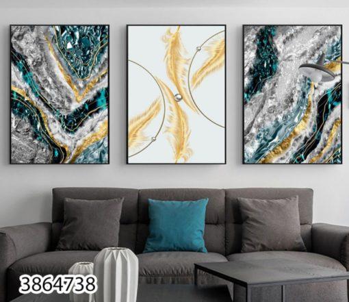 סט 3 תמונות - נוצות אבסטרקט - סט תמונות יוקרתי על זכוכית לסלון או לפינת אוכל דגם 3864738