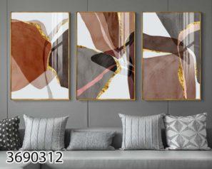 סט 3 תמונות על זכוכית בגווני חום לסלון או לפינת אוכל דגם 3690312