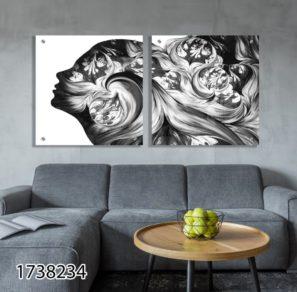 עולם הדמיון - סט תמונות השראה מרובעות יוקרתיות מזכוכית לסלון או לחדר שינה דגם 1738234