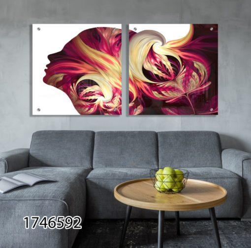 עולם הדימיון 2 - זוג תמונות על זכוכית מלאות השראה לחדר שינה או לסלון דגם 1746592