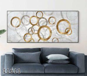 עיגולים בזהב - תמונת זכוכית לסלון או לפינת אוכל דגם 11611