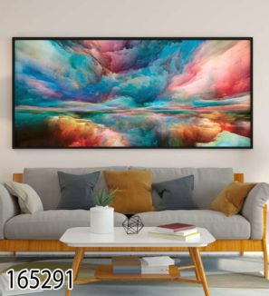 עננים צבעוניים - תמונת זכוכית על קנבס בסגנון אבסטרקט לסלון או לפינת אוכל דגם 165291