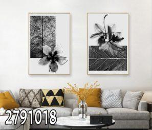 פרחים ועלים בשחור לבן - סט תמונות זכוכית לסלון או לפינת אוכל דגם 2791018