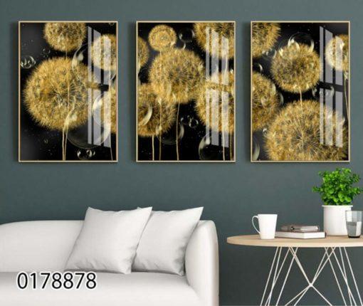 פרחי לילה - סט 3 תמונות זכוכית מודרניות לסלון או לפינת אוכל דגם 0178878