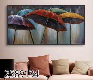 ציור של מטריות - תמונה מזכוכית לסלון או לפינת אוכל דגם 2589134
