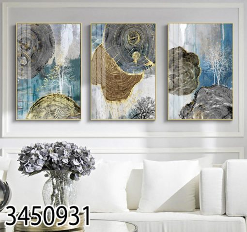 שלישיית תמונות מעוצבות בסגנון נורדי לסלון דגם 3450931